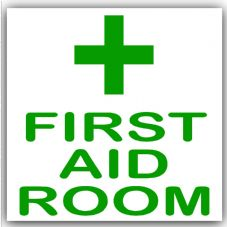 1 x First Aid Room-Green on White,External Self Adhesive Stickers-Medical,Health and Safety Signs